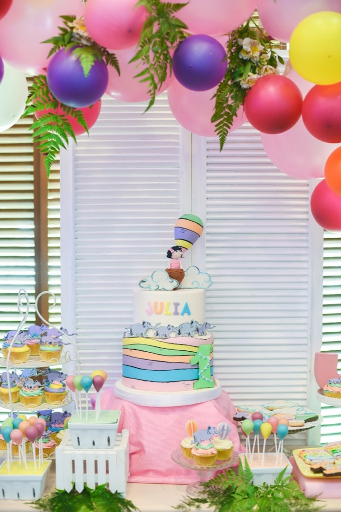 """Cakescape from an """"Oh the Places You'll Go"""" Dr. Seuss Birthday Party on Kara's Party Ideas 