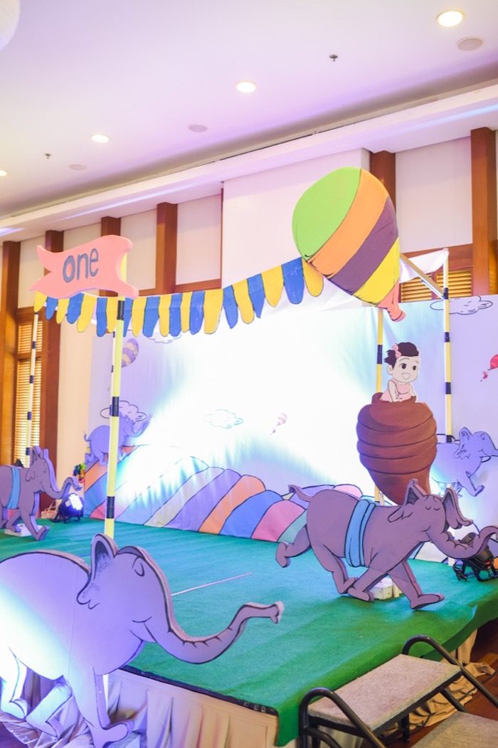 """Party stage + backdrop from an """"Oh the Places You'll Go"""" Dr. Seuss Birthday Party on Kara's Party Ideas 