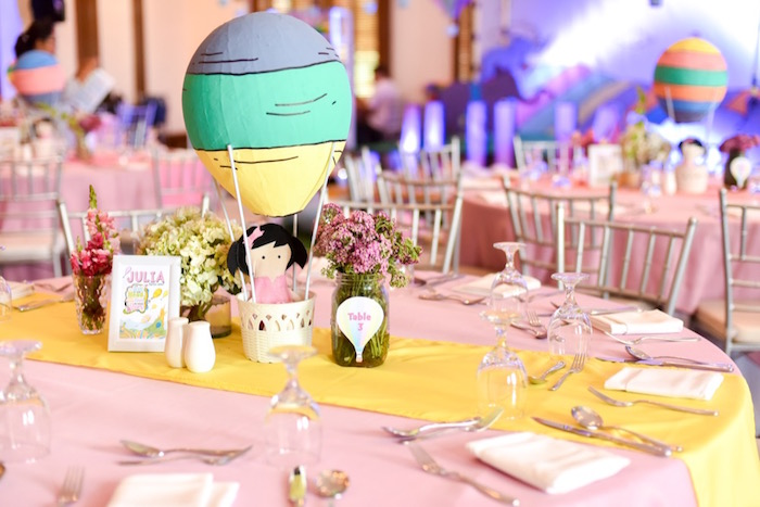 """Guest table centerpieces from an """"Oh the Places You'll Go"""" Dr. Seuss Birthday Party on Kara's Party Ideas 