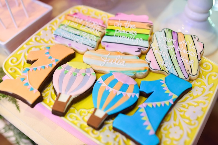 """Cookies from an """"Oh the Places You'll Go"""" Dr. Seuss Birthday Party on Kara's Party Ideas 