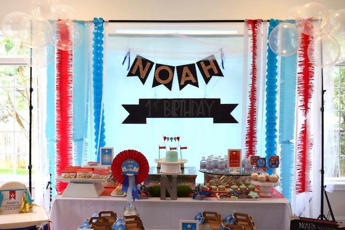 Airplane party spread from a Airplane Birthday Party via Kara's Party Ideas KarasPartyIdeas.com (27)