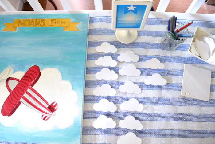 """""""Check-in"""" guest board from a Airplane Birthday Party via Kara's Party Ideas KarasPartyIdeas.com (24)"""