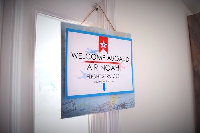 Hanging entrance sign from a Airplane Birthday Party via Kara's Party Ideas KarasPartyIdeas.com (21)