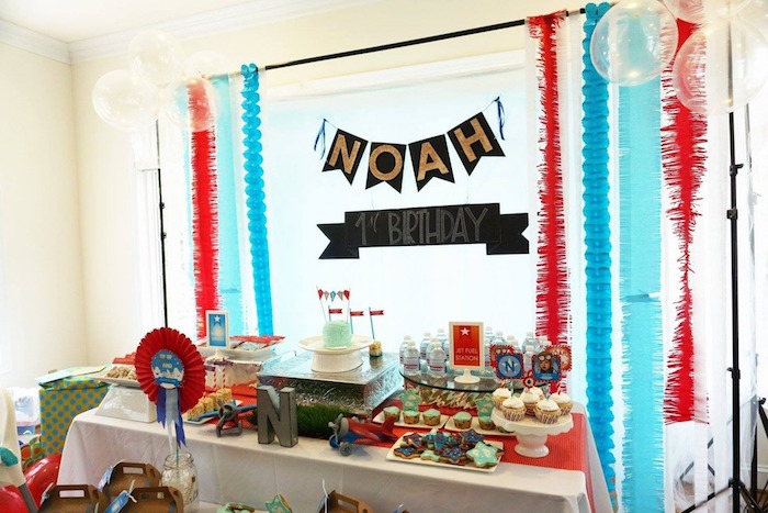 Dessert table from a Airplane Birthday Party via Kara's Party Ideas KarasPartyIdeas.com (8)