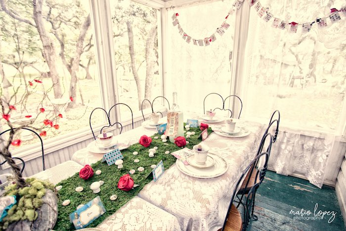 Tea table from an Alice in Wonderland Birthday Party via Kara's Party Ideas | KarasPartyIdeas.com (39)