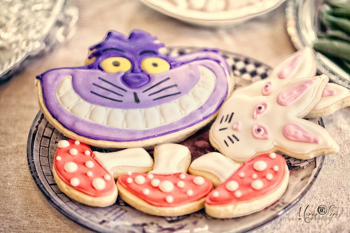 Alice in Wonderland themed cookies from an Alice in Wonderland Birthday Party via Kara's Party Ideas | KarasPartyIdeas.com (46)