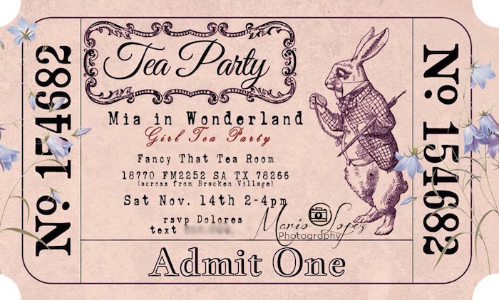 Ticket stub invitation from an Alice in Wonderland Birthday Party via Kara's Party Ideas | KarasPartyIdeas.com (8)