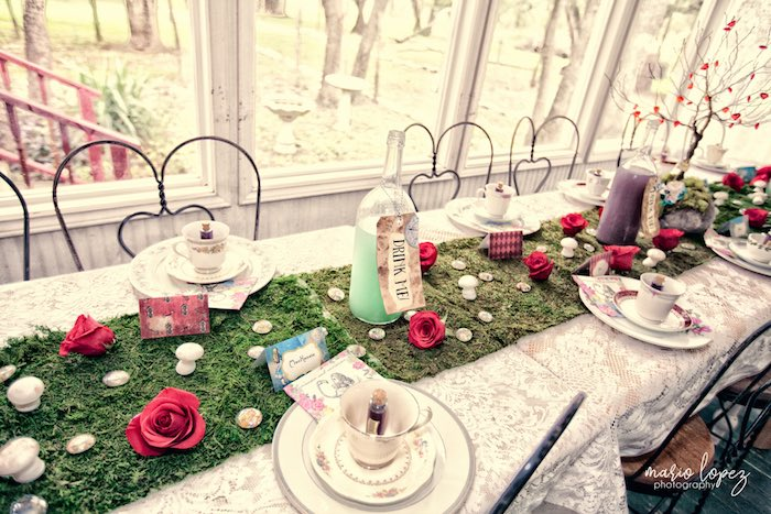 "Gorgeous ""tea-time"" table from an Alice in Wonderland Birthday Party via Kara's Party Ideas 