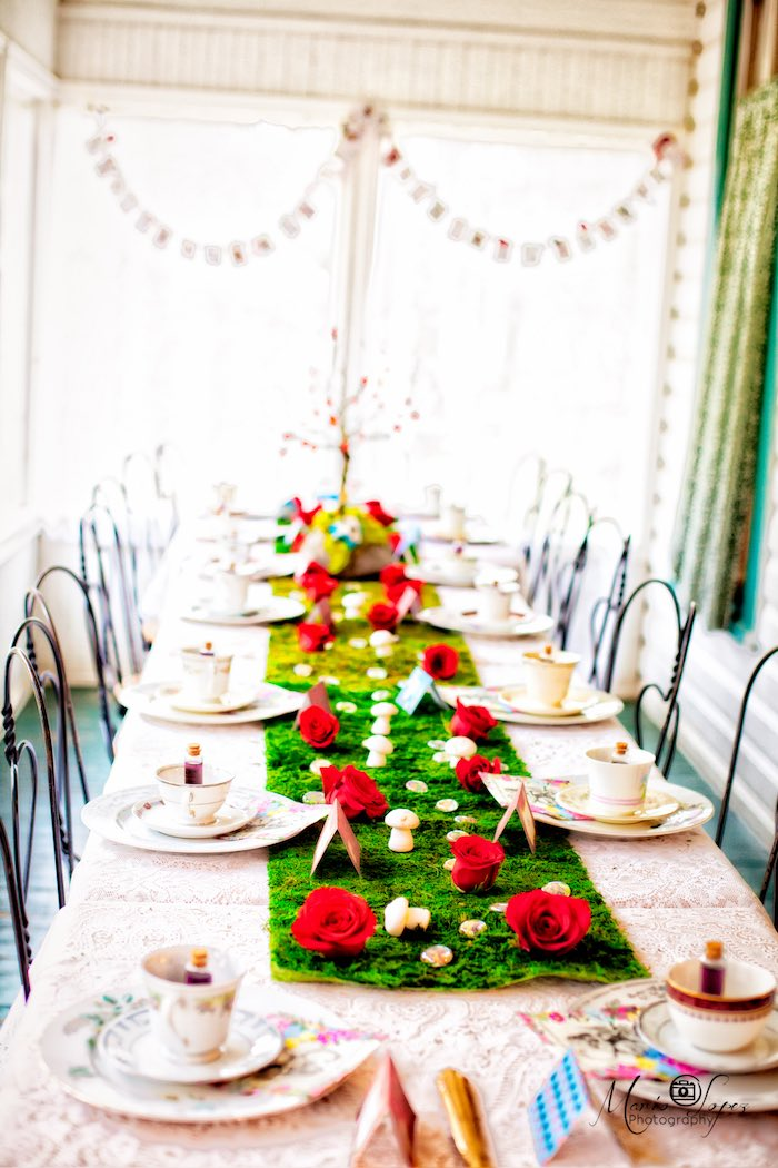 Red rose party tablescape from an Alice in Wonderland Birthday Party via Kara's Party Ideas | KarasPartyIdeas.com (41)