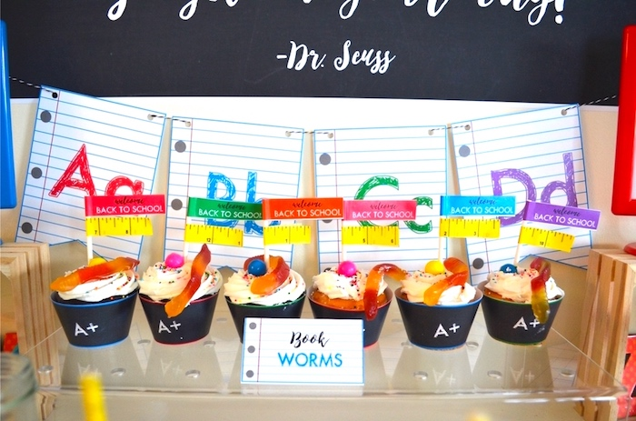 Book worm cupcakes from a Back to school blackboard cupcakes from a Back to School Party with Free PRINTABLES via Kara's Party Ideas | KarasPartyIdeas.com (13)
