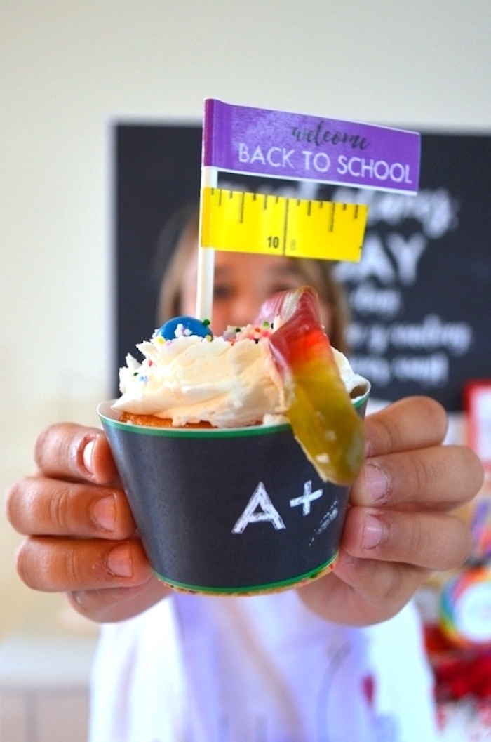 Book Worm Cupcake from a Back to School Party with Free PRINTABLES via Kara's Party Ideas | KarasPartyIdeas.com (12)
