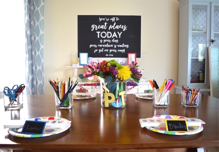 Guest party table from a Back to School Party with Free PRINTABLES via Kara's Party Ideas | KarasPartyIdeas.com (11)