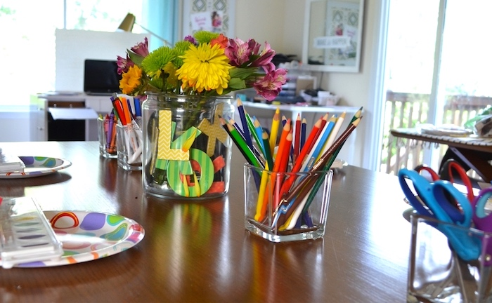 School supply table centerpieces from a Back to School Party with Free PRINTABLES via Kara's Party Ideas | KarasPartyIdeas.com (10)