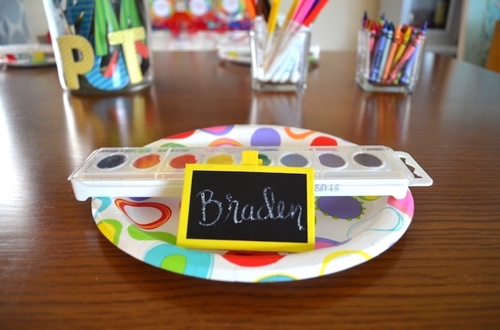 Pain palette place setting from a Back to School Party with Free PRINTABLES via Kara's Party Ideas | KarasPartyIdeas.com (9)