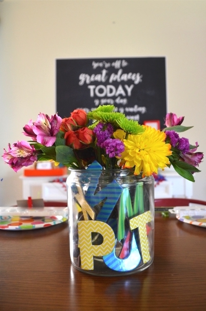 School-inspired floral table centerpiece from a Back to School Party with Free PRINTABLES via Kara's Party Ideas | KarasPartyIdeas.com (8)