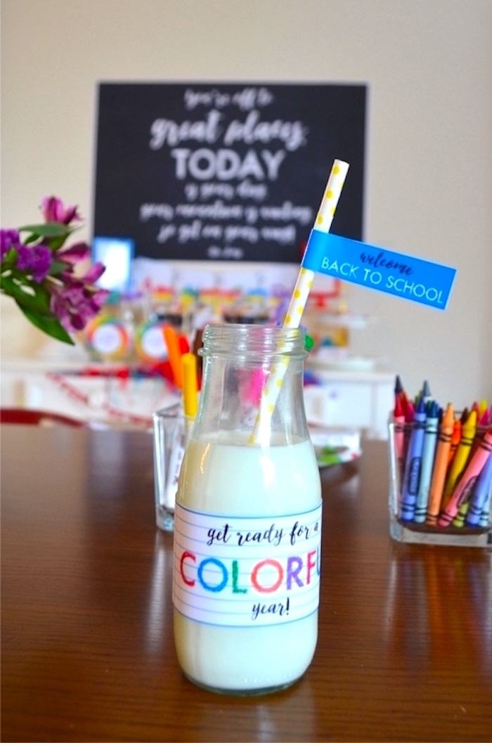 Milk bottle from a Back to School Party with Free PRINTABLES via Kara's Party Ideas | KarasPartyIdeas.com (6)
