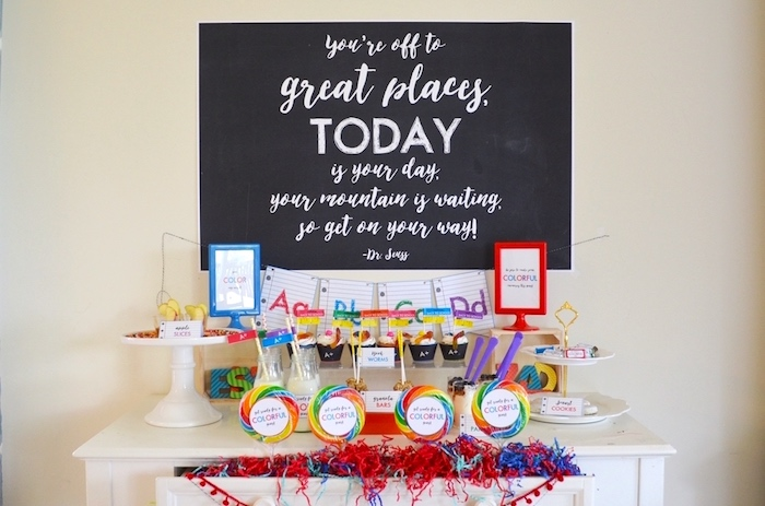 Back to school party table from a Back to School Party with Free PRINTABLES via Kara's Party Ideas | KarasPartyIdeas.com (3)