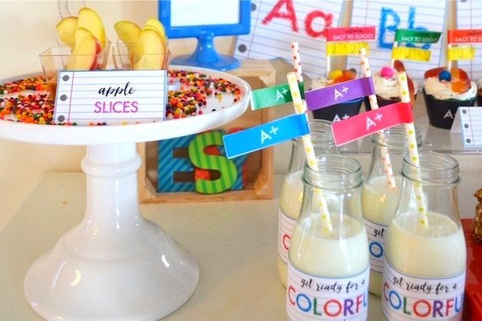 Apple slices + milk bottles from a Back to School Party with Free PRINTABLES via Kara's Party Ideas | KarasPartyIdeas.com (21)