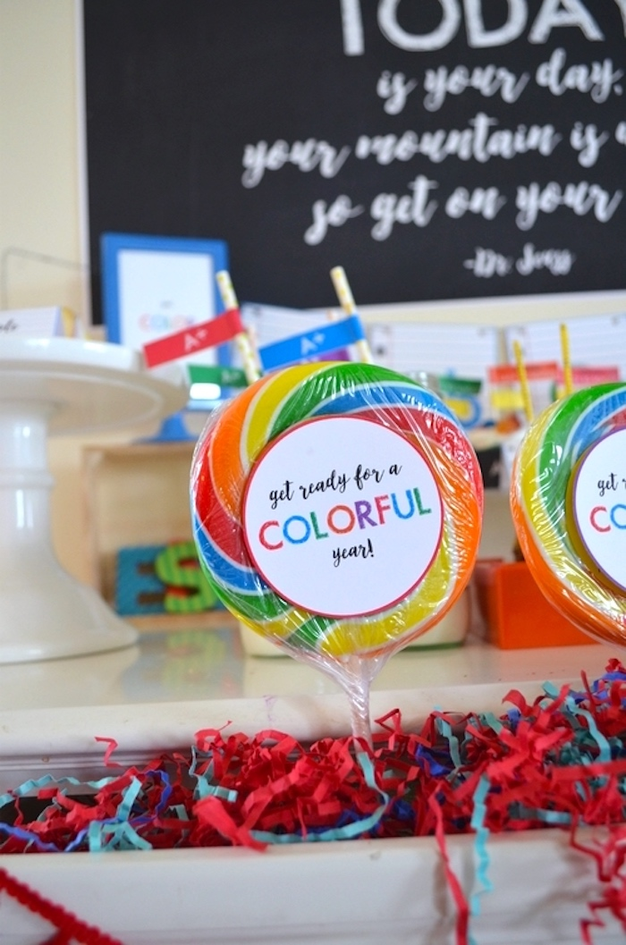 Swirl lollipops from a Back to School Party with Free PRINTABLES via Kara's Party Ideas | KarasPartyIdeas.com (20)