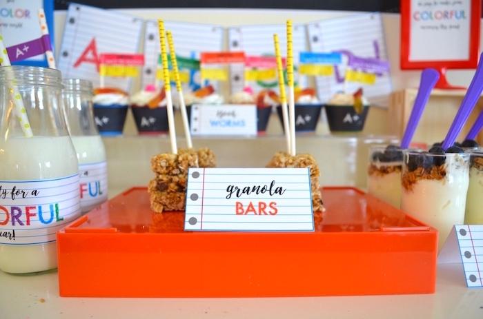 Granola bar pops from a Back to School Party with Free PRINTABLES via Kara's Party Ideas | KarasPartyIdeas.com (19)