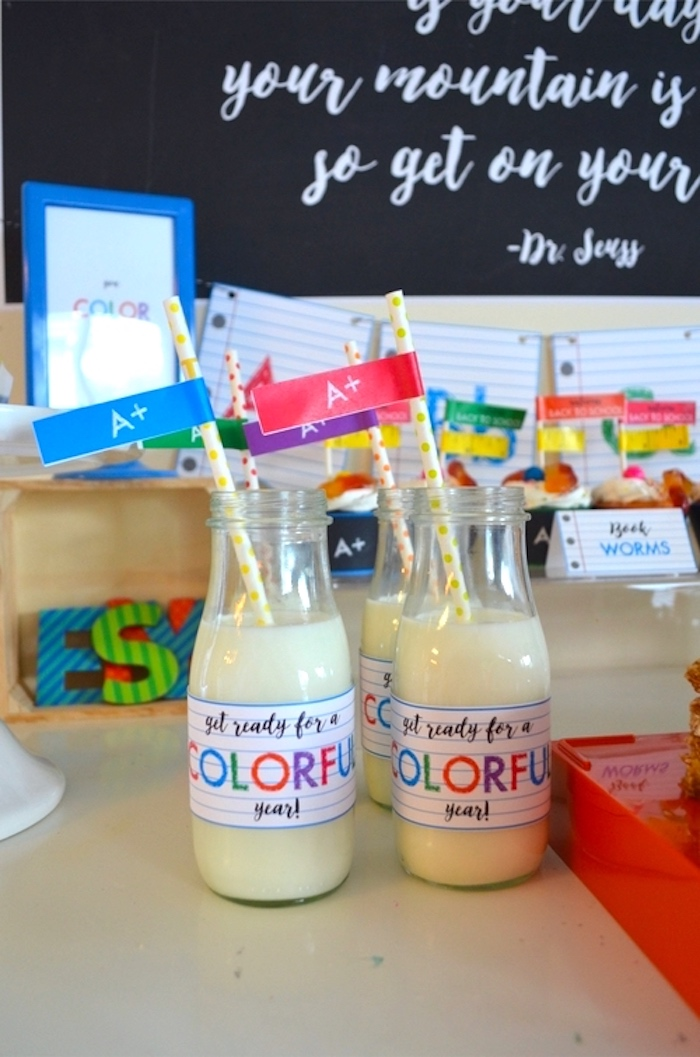 Milk bottles from a Back to School Party with Free PRINTABLES via Kara's Party Ideas | KarasPartyIdeas.com (16)