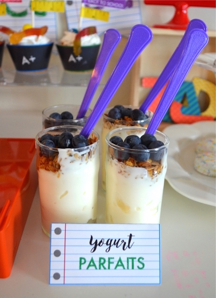 Yogurt parfaits from a Back to School Party with Free PRINTABLES via Kara's Party Ideas | KarasPartyIdeas.com (15)