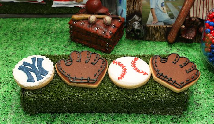 Baseball themed cookies from a Baseball + Yankees Inspired Birthday Party via Kara's Party Ideas | KarasPartyIdeas.com (24)