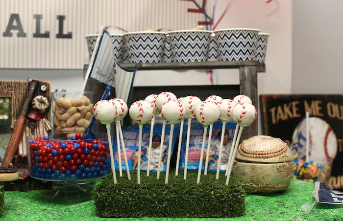 Baseball cake pops from a Baseball + Yankees Inspired Birthday Party via Kara's Party Ideas | KarasPartyIdeas.com (20)