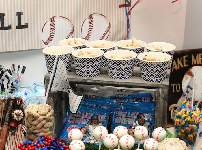 Baseball-inspired snacks from a Baseball + Yankees Inspired Birthday Party via Kara's Party Ideas | KarasPartyIdeas.com (18)