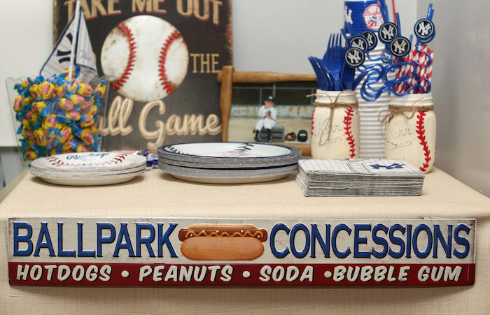 Concession + partyware table from a Baseball + Yankees Inspired Birthday Party via Kara's Party Ideas | KarasPartyIdeas.com (14)