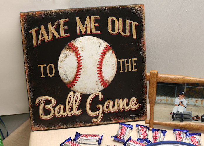 Party decoration sign from a Baseball + Yankees Inspired Birthday Party via Kara's Party Ideas | KarasPartyIdeas.com (13)