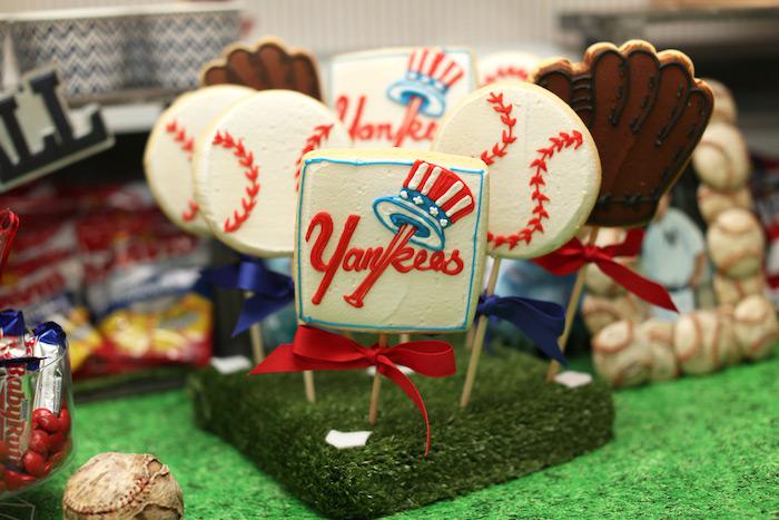 Baseball cookies from a Baseball + Yankees Inspired Birthday Party via Kara's Party Ideas | KarasPartyIdeas.com (10)