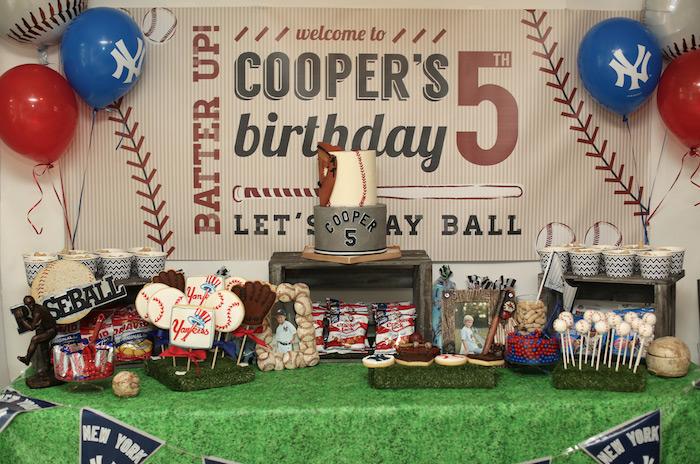 Baseball + Yankees Inspired Birthday Party via Kara's Party Ideas | KarasPartyIdeas.com (9)