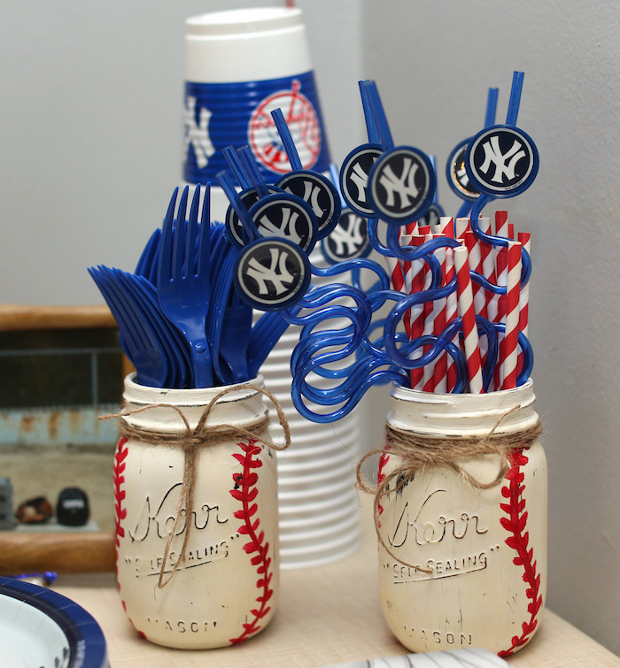 Baseball mason jars + utensils and straws from a Baseball + Yankees Inspired Birthday Party via Kara's Party Ideas | KarasPartyIdeas.com (8)