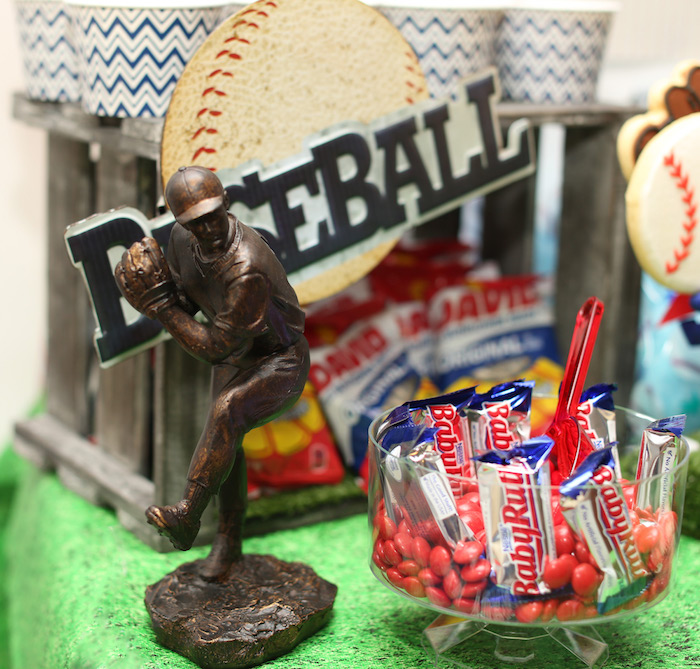 Baseball player figurine & Baby Ruth candy bars from a Baseball + Yankees Inspired Birthday Party via Kara's Party Ideas | KarasPartyIdeas.com (32)