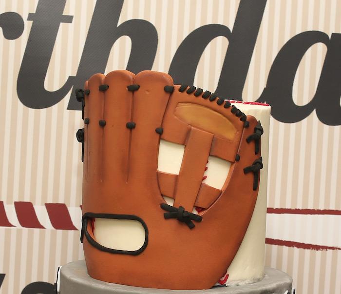 Gloved baseball cake from a Baseball + Yankees Inspired Birthday Party via Kara's Party Ideas | KarasPartyIdeas.com (27)