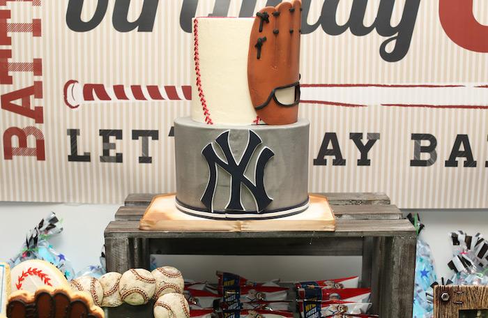 Yankees Birthday Cake from a Baseball + Yankees Inspired Birthday Party via Kara's Party Ideas | KarasPartyIdeas.com (26)
