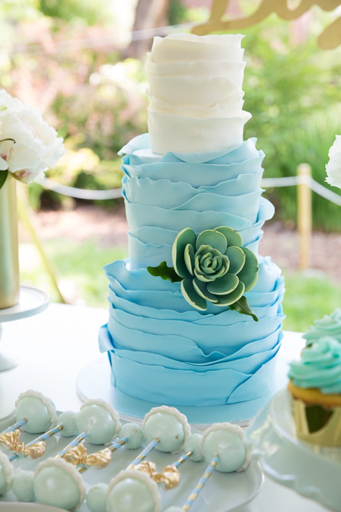 blue ombre ruffle cake with succulent from a blue u0026 gold baby shower via karau0027s party