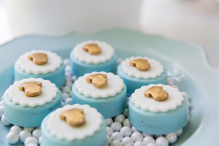 Dipped Oreos For Baby Shower Part - 48: Chocolate Covered Oreos Adorned With Gold Onesies From A Blue U0026 Gold Baby  Shower Via Karau0027s