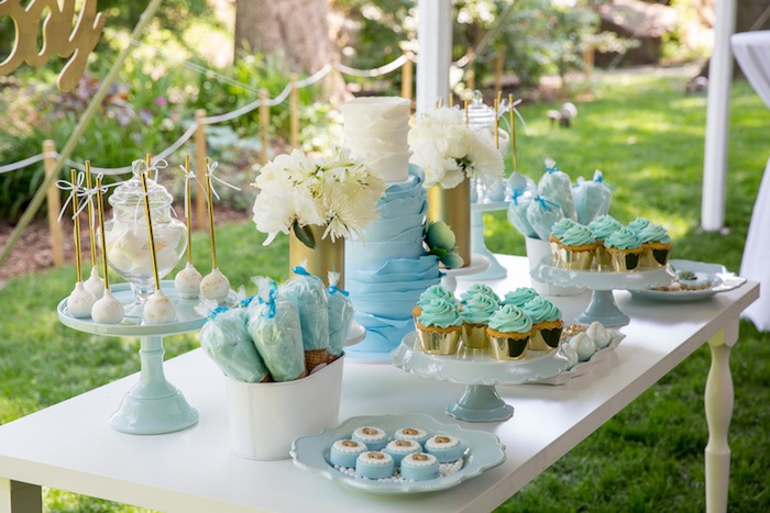 Outdoor Dessert Table From A Blue U0026 Gold Baby Shower Via Karau0027s Party Ideas  | KarasPartyIdeas