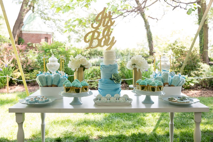 blue gold baby shower via kara 39 s party ideas