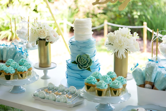 sweet tablescape from a blue gold baby shower via kara 39 s party idea