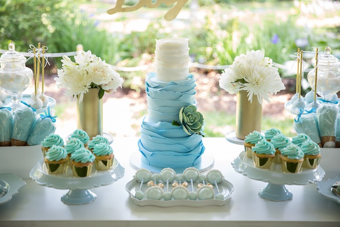 cakescape from a blue gold baby shower via kara 39 s party ideas