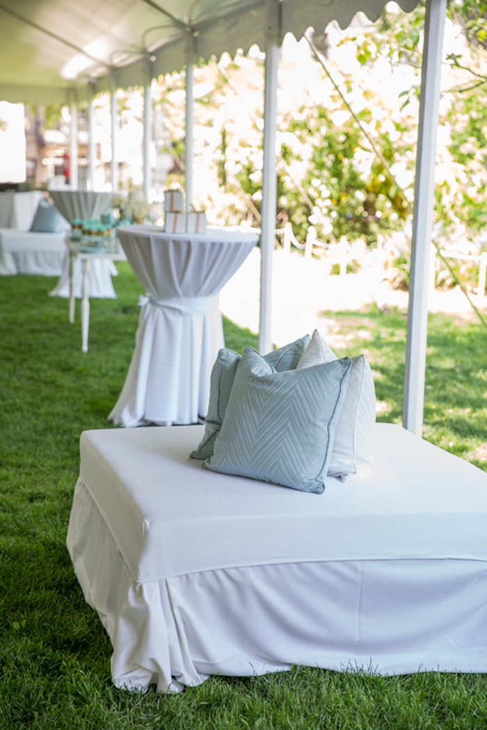 Garden Party Baby Shower Ideas Karas party ideas blue gold baby shower karas party ideas ottoman seating underneath a garden tent from a blue gold baby shower via karas party workwithnaturefo