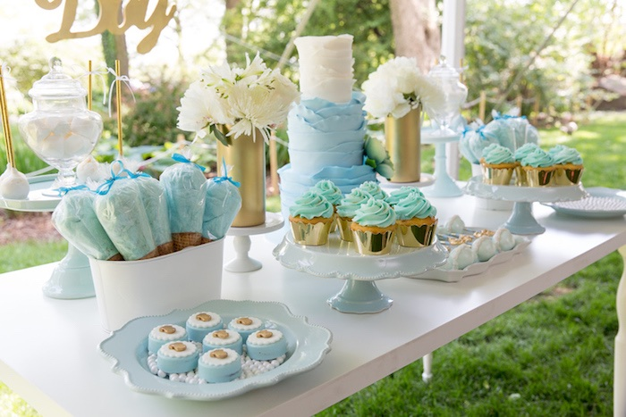 baby shower dessert table from a blue gold baby shower via kara 39 s