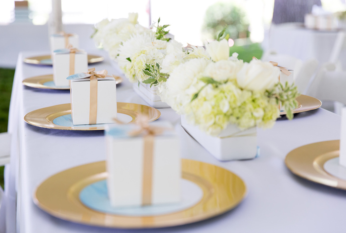 Kara's Party Ideas Blue & Gold Baby Shower | Kara's Party ...