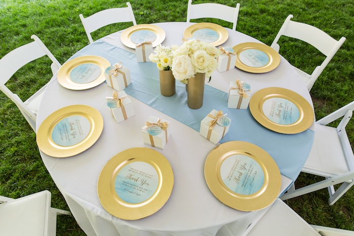 blue and gold round dining tabletop from a blue gold baby shower via
