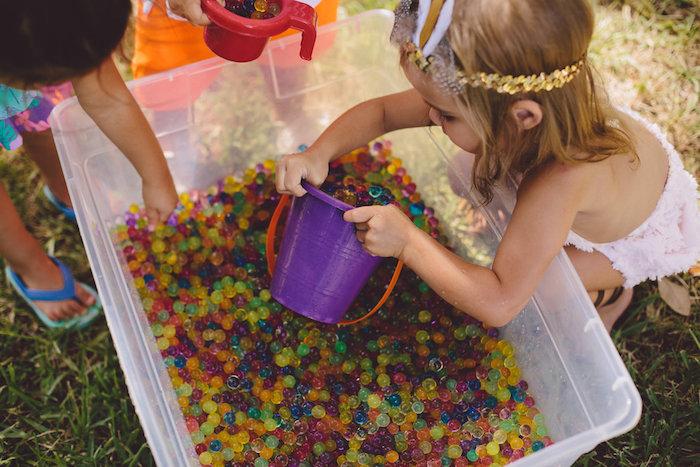 Bubble bead fun from a Boho Baby Pow Wow Party via Kara's Party Ideas | KarasPartyIdeas.com (15)