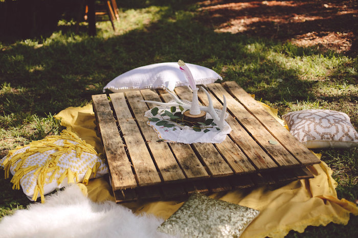 Pallet table from a Boho Baby Pow Wow Party via Kara's Party Ideas | KarasPartyIdeas.com (14)
