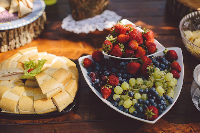 Sandwiches + fruit platter from a Boho Baby Pow Wow Party via Kara's Party Ideas | KarasPartyIdeas.com (11)